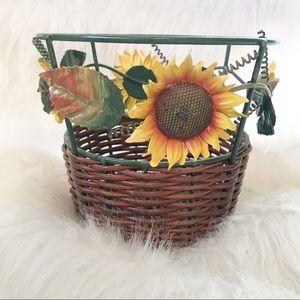Other - Sunflower metal & wicker basket